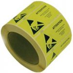 Antistat 055-0002 Yellow ESD Caution Labels 50 x 25mm Roll Of 1000