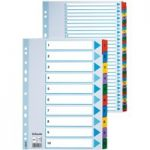 Esselte 100163 Multicoloured Mylar Tabbed A4 Index 1 – 20 160gsm Board