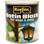 Rustins SATB250 Quick Drying Satin Black Paint 250ml