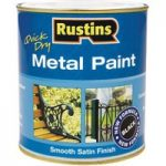 Rustins MPBK500 Quick Dry Metal Paint Smooth Satin Finish Black 500ml