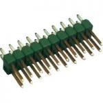 TE Connectivity 826656-7 Ampmodu II Short Pin Header Gold 2 x 7P Green