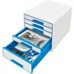 Leitz Pearl White / Blue Drawer Unit WOW CUBE A4 Maxi 5 Drawer