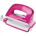 Leitz Pink Metal Mini 2 Hole Punch WOW NeXXt 10 Sheet
