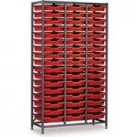 Gratnells 51 Shallow Tray (Red) Rack (Grey) 1055 x 420 x 1850mm