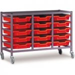 Gratnells 15 Shallow Tray (Red) Metal Rack (Grey) with Castors 105…