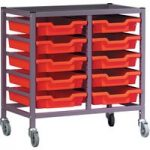 Gratnells 10 Shallow Tray (Red) Metal Rack (Grey) with Castors 710…