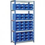 Eco-Rax TC Bin Kit Shelving Bay 1800 x 900 x 450mm + 40 x TC4 Blue