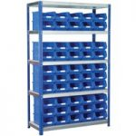 Eco-Rax TC Bin Kit Shelving Bay 1800 x 1200 x 450mm + 50 x TC4 Blue