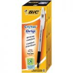 BiC Medium Cristal Pen with Grip Black Pack 20