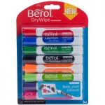 Berol Dry Wipe Marker Pen Round Tip Assorted – Pack of 8