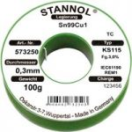 Stannol 573252 Solder Wire Sn99Cu1 KS115 3.0% 0.7mm 100g