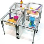 Titchy Tubs Water Play Set Of 4 Clear With Stands