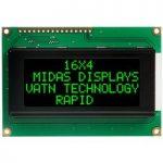 Midas Displays MC41605A12W-VNMLG 16×4 VATN LCD Display Negative Mo…