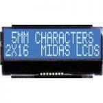Midas Displays MCCOG21605B6W-BNMLWI COG 2×16 STN White on Blue I2C…