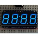 Adafruit 881 0.56″ 4-Digit 7-Segment Display with I2C Backpack Blue