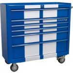 Sealey AP41206BWS Rollcab 6 Drawer Wide Retro Style – Blue with Wh…