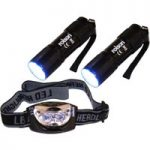 Rolson 61762 2x 9 LED Torch & 3 LED Head Light