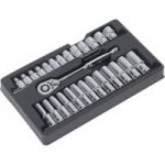 Sealey AK66483 Ratchet Wrench and Socket Rail Set 27pc 1/2″sq Drive